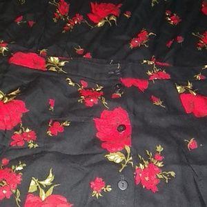 Vintage Full length black and red rose skirt